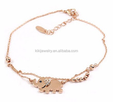 Personalized Rose Gold Plated Crystal Elephant Hair Charm Chain Bracelet Jewelry For Hot Sale
