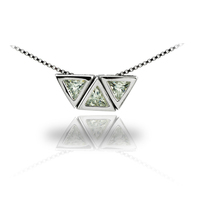 Fashion 925 Sterling Silver Triple Triangle Pendant Necklace Paved Zircons for Women Girls