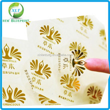 Fancy design printing transparent gold foil clear label, printed decal sticker vinyl sticker custom for cosmetics