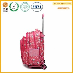 2015 New style cheap children trolley school backpack with hello kity printed