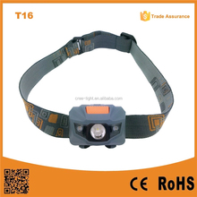 T16 best quality cheap 1w LED+2red SMD 3*AAA dry battery Camping led headlamp