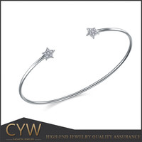 Daily wear jewellery adjustable sterling silver pentagram bangles with open size