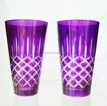 New Product Hot sale Purple Glass Cup Vase with engraved logo