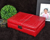alibaba hot sale products custom logo printed red leather jewelry boxes