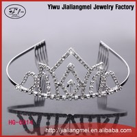 2015 hot fashion silver plated rhinestone bride party beauty pageant crown with princess combs