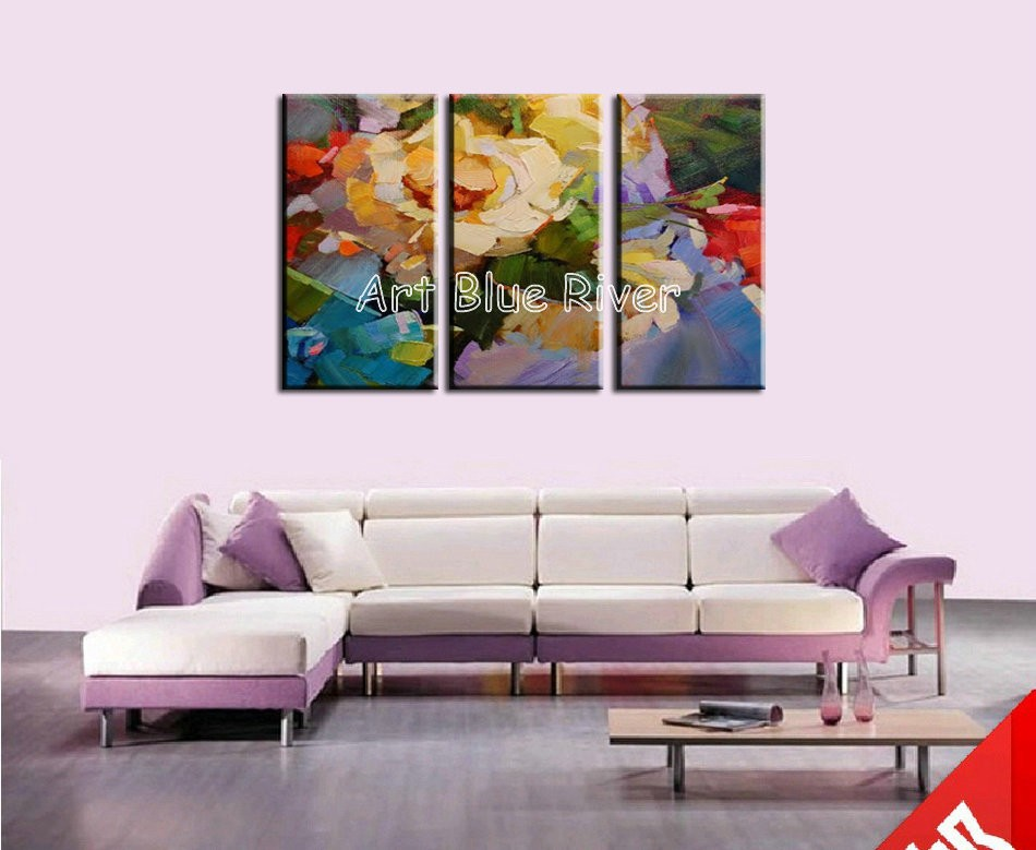 Buy 3 piece muti panel abstract  canvas wall handmade Knife rose oil painting on canvas for living room wall picture decoration cheap