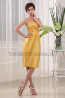 Yellow Taffeta Spaghetti Straps Cocktail Party Short Bridesmaid Dresses