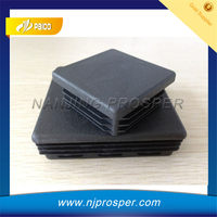 Black plastic square rubber pipe end cap for steel tube