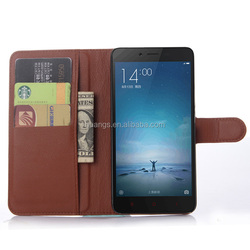 Buy direct from china Luxury PU Leather case lychee stand case phone case for xiaomi redmi note 2 factory price