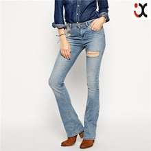 paloma light wash flare jeans with thigh rip and abrasion JXH273