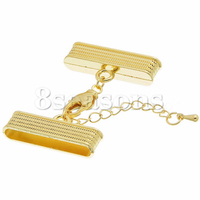 Custom Magnetic Hematite Necklace/ Cord Crimp End Caps Rectangle Gold Plated Lobster Clasp Extender Chain 32mm x 16mm,3 Sets