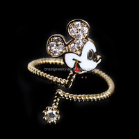 High Quality Cute Lovely Zircon Diamond Paved Adjustable Gold Plated Girls Finger Ring