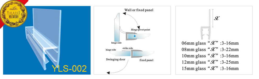 Eco Friendly Frameless Shower Door Seal With Translucent Vinyl Edge