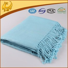 High Quality Organic Bamboo Sofa Throw Plain Woven Blanket Throw With Brushed