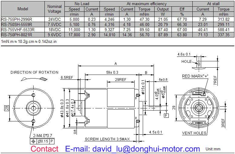 6v 12v 24v Rs 750 755h Dc Motor Specifications Buy 755h