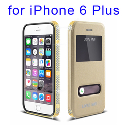 LOVE MEI window 24K Gold Plated Metal Cover leather case for iPhone 6 Plus