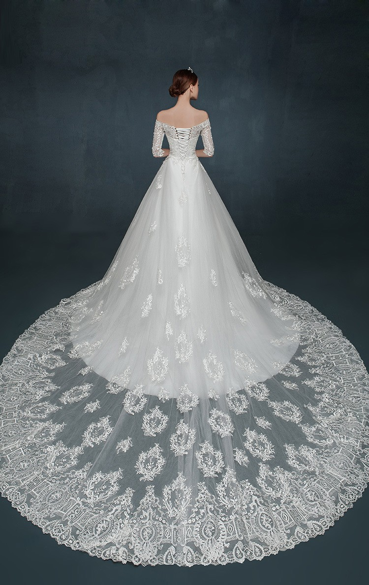 Fashion Romantic Half Sleeves Off Shoulder Lace Wedding Dresses With ...