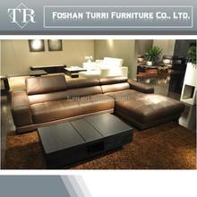 Leather cover modern L shape sofa,living room furniture sofa set