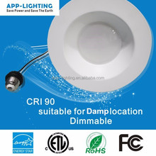 ETL Energy Star 6inch 12W smooth dimmable LED recessed can trim kit