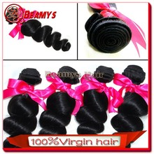 Thick and neat remy human hair, 100% malaysian loose wave virgin hair weaving weft