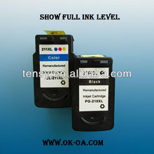 new compatible ink cartridge for canon pg210xl refilled inkjet cartridge with reset chip