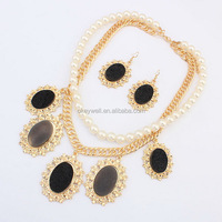 NS041 Free shipping Costume Pendants Grace Peal Rhinestone Necklaces Set Jewelry Set Beautiful images new in china free