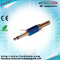 gold 6.35mm mono male plug spring connector