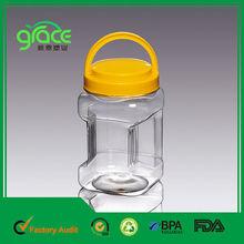 Lado de la manija de plástico contenedor, frasco de plástico