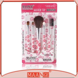 5Pcs Rose Red Pro Makeup Brushes Set Cosmetic Foundation Kabuki Powder Blush Kit