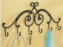 Black Decorative Over The Door Wall Mounted Metal 6 Hooks Coat Clothes Hat Storage Strong Rack Hanger