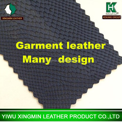 2015 new snake pattern pu Garment leather for colothes