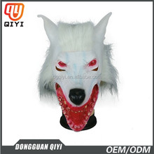 Custom Latex Mask White Wolf Mask With Bloody Mouth Adult Mask