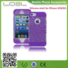 Protective Case Purple Silicone Cover with Clear Sparkly Glitter Design fancy cell phone cover case for samsung galaxy s5