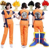 C038 Full set coat + pant+shoe cover+belt Dragon Ball Z costume Goku costume Kids Adult Cosplay Halloween Costume