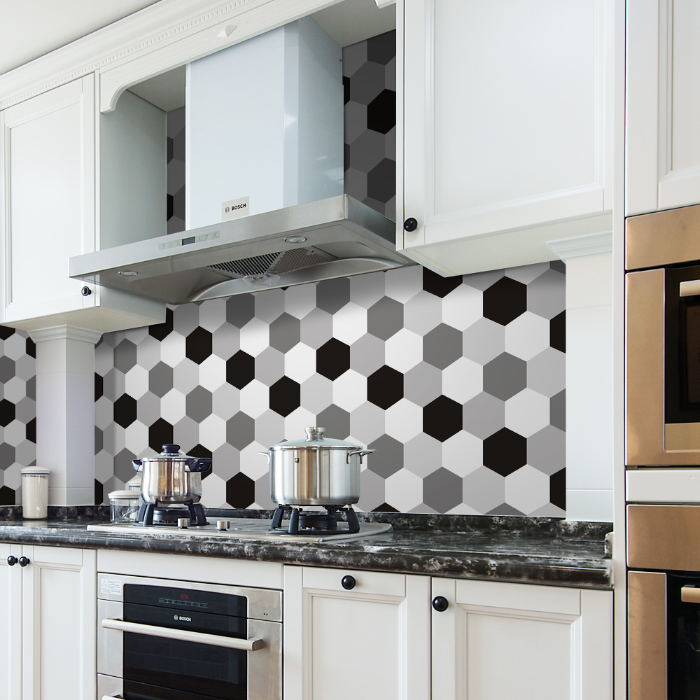 Pgts019 blanc noir gris hexagone tanche amovible cuisine for Credence cuisine amovible