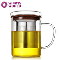 Promotional Gift Perfect Removable Borosilicate Glass Tea Infuser Cup/Mug