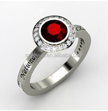 Female Laser engraved and CZ set championship rings custom made