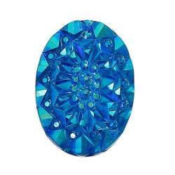 """Resin Embellishments Findings Oval Blue AB Color 19.0mm( 6/8"""") x 14.0mm( 4/8""""), 100 PCs"""