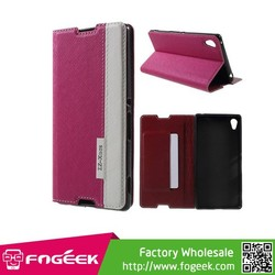 High Quality Card Slot Cross Texture Leather Case for Sony Xperia Z3+