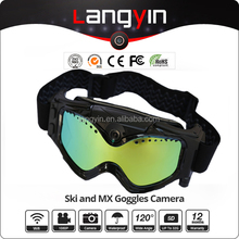 Stylish ANTI-FOT-ANTI-SNOW goggles for skiing with video camera build in revo coating snow goggles with camera customnized
