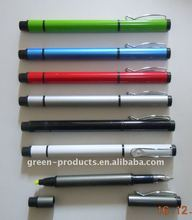 Recycled metal aluminum highlighter pen and ball pen (TPA001)