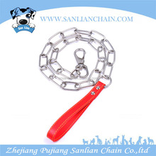 With OEM/ODM avilable Gold Supplier Of Pet Products,Link Chain With Leather Handle Of Stainless Steel Dog Training Products