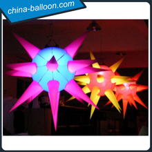 Ceiling hanging decoration luminous star cheap custom inflatable planet in different colors