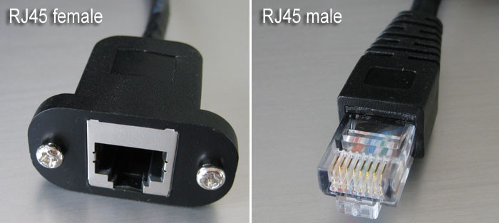 Bulkhead RJ12 female cable, RJ12 6P6C panel mountable extension cable