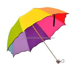 22 inch 8 ribs manual open and close colorful rainbow umbrella