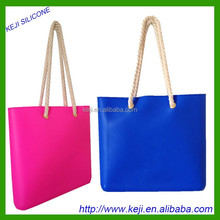 Fashion handbag for lady silicone big handbag Lady handbag with rope