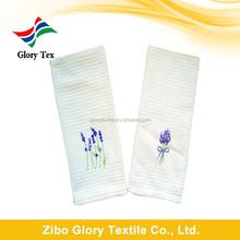 100% cotton lavender design embrodered waffle kitchen tea towel wholesale