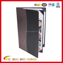 Fashionable PU Leather Menu Cover for Hotel, Custom 4 Views Book Style Leather Cafe Menu Cover with Embossed Logo