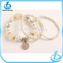 Latest popular style alloy pendant nature stone imitation pearl jewelry bracelet