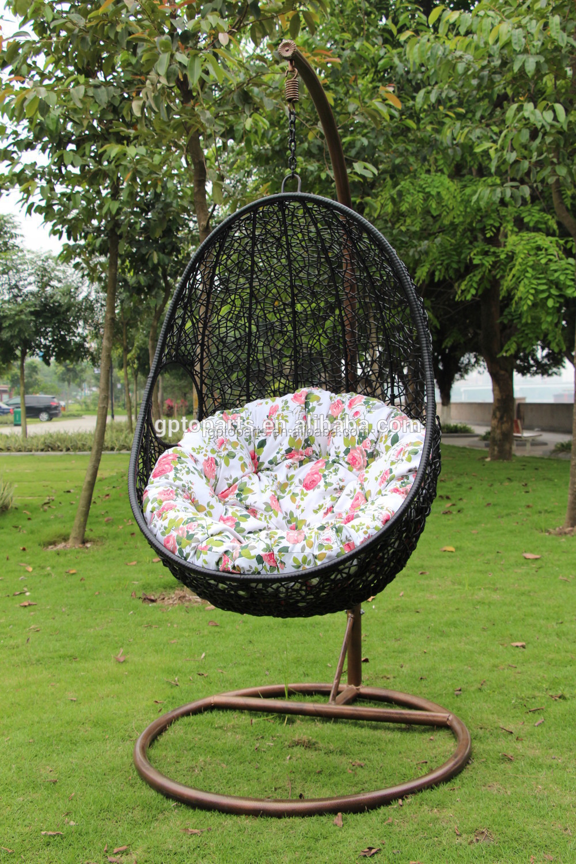 Wicker rotin balan oire chaise lit tiss forme d 39 oeuf suspendus hamac bal - Balancelle oeuf en osier ...